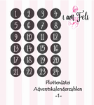 Plotterdatei Adventskalender Zahlen -1-